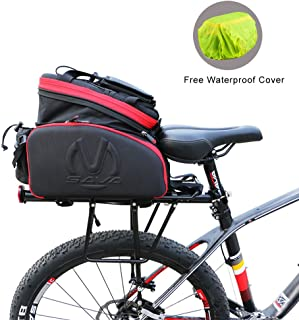 SAVADECK Bike Rack Bag, Bike Trunk Bag Multifunction Waterproof Cycling Road Bicycle Pannier Rack Rear Trunk Carrier Commu...