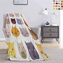 Tr.G Cat Bedding Microfiber Blanket Cute Watercolor Effect Cat Heads in Colorful Humor Fun Purring Meow Animal Kids Artsy Print Super Soft and Comfortable Luxury Bed Blanket W55 x L55 Inch Multi