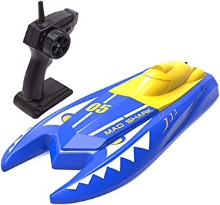 Remote Control Boats for Pools and Lakes,2.4G RC Boat 15km/h High Speed Boat Toys for Kids Adults Boys Girls(Blue) (N511)