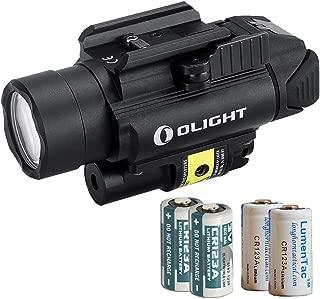 OLIGHT Baldr Pistol Flashlight Weaponlight Laser Sight Combo with 2X CR123 Batteries & 2X LumenTac CR123 Batteries