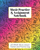 Music Practice & Assignment Notebook: 52 Weeks of Music Lesson Tracking Charts | Record Notes and Practice Log Book | Rainbow Instruments for Girls or Boys