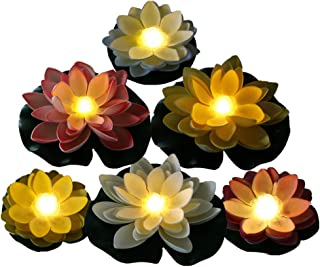Battery Operated Mixed Color Lotus-Warm White LED, Water Floating Lily Flower, Flower Night Lamp for Pool Garden Fish Tank...