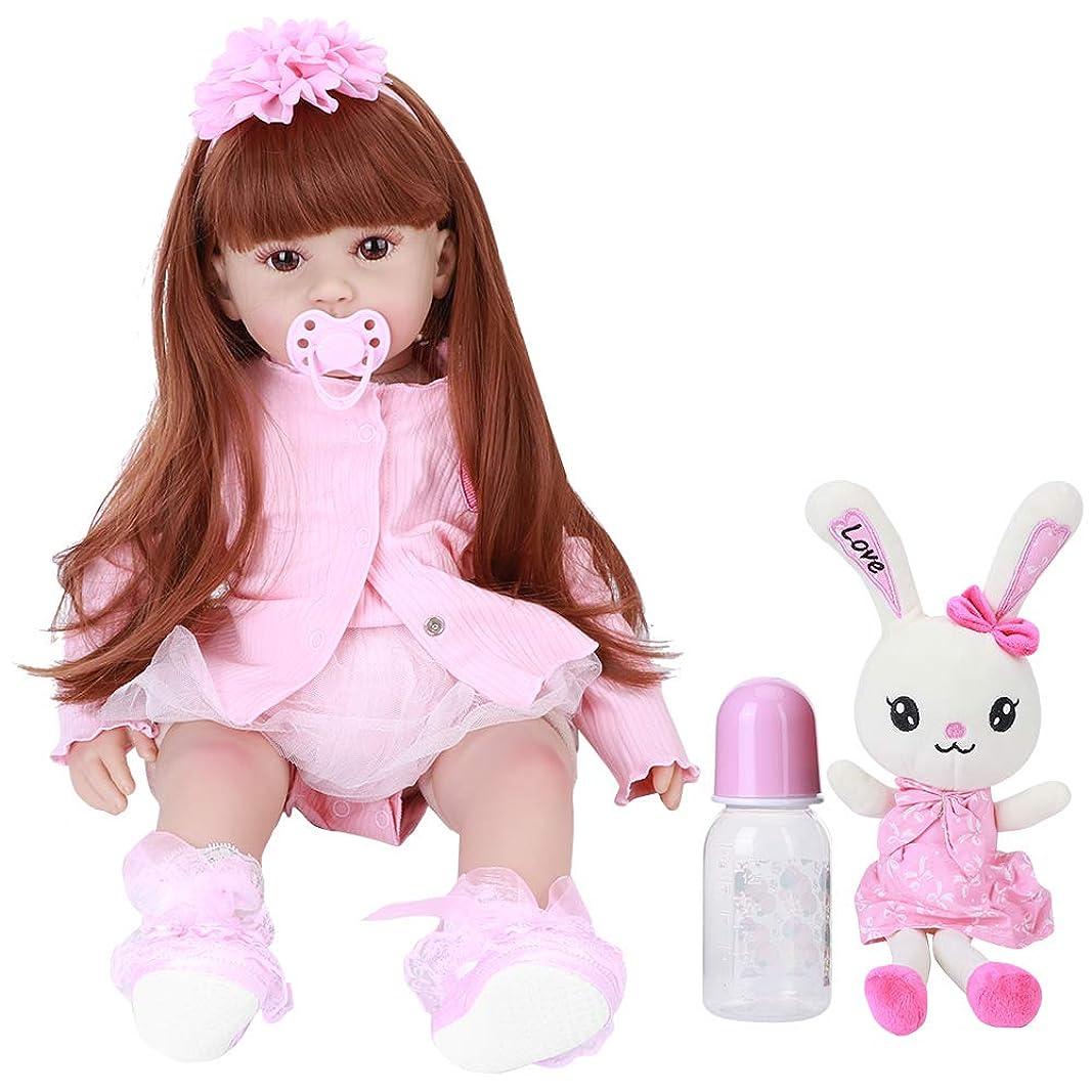 どんよりした面白い直感リアルな生まれ変わった赤ちゃん人形、60cm生まれ変わった幼児のシリコーンの赤ちゃんの女の子の人形鮮やかな創造性現在の美しい赤ちゃんのおもちゃバニーおもちゃ最高の誕生日セット(茶色の目)