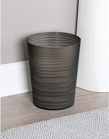 Color blanco mDesign Papelera en acero con detalles en pl/ástico el perfecto accesorio para el ba/ño o para su oficina con un dise/ño moderno