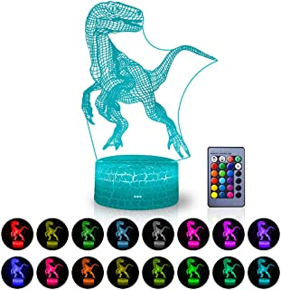 3D LED Dinosaur Lights Optical Illusion Lamps Jurassic Theme Desk Table Lamp with Remote Controller & 16 Colors Display for Dinosaur Lovers Party Decor Gift Ideas for Kids Girls(Dinosaur D(Remote))