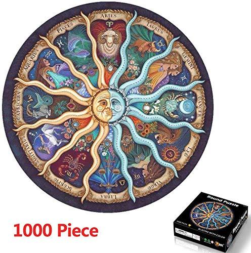 1000 Piezas Redondo Puzzle,Rompecabezas De Círculo De 1000 Piezas,de Gradiente Difícil y Desafiante Juguete,Grande Educativo El Alivio del Estrés Juguete Relajante Juego Divertido para Adultos Niños