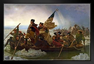 Emanuel Leutze Washington Crossing The Delaware River 1851 Oil On Canvas Painting Black Wood Framed Art Poster 20x14