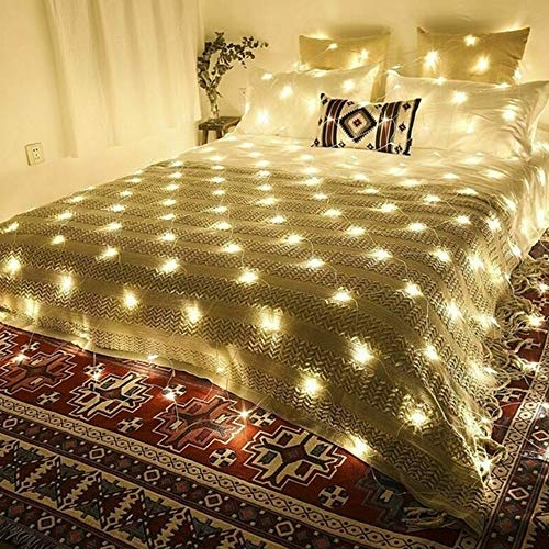 Solar Lichternetz, LED Lichterkette Netz, Warmweiß Lichterkettennetz, 8 Modi Lichtervorhang für Innen Deko, Netzlicht für Weihnachten Hochzeit Party Kaufhaus Balkon Bäume Terrasse (2*3m204LED)