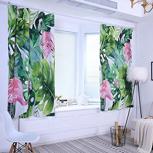 litymitzromq Beautiful Window Curtains Panels Valance, Tropical Leaves Flamingo High Shading Curtain Window Drape Valance Home Decor Elegance Curtains for Living Room, Bedroom & Bathroom
