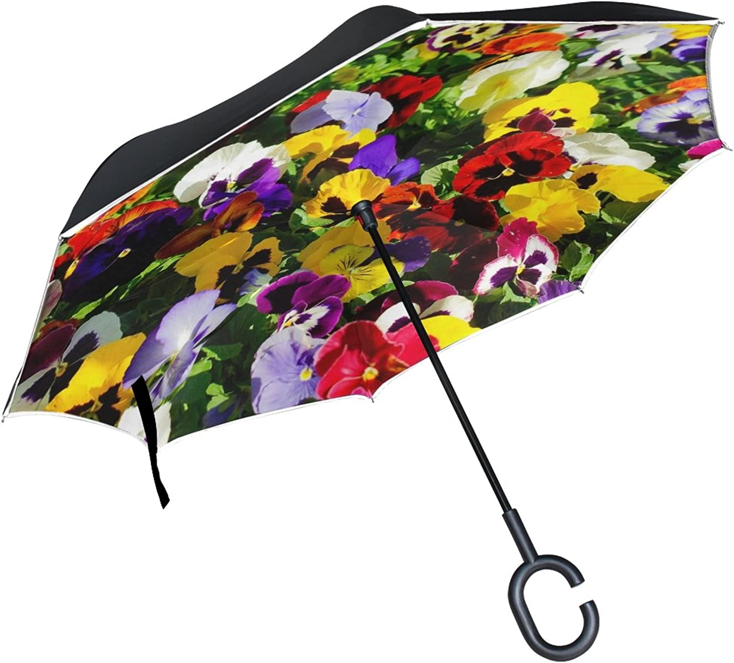 Double Layer Ingreened Flowers Thoughts Plant Parterre Umbrellas Reverse Folding Umbrella Windproof Uv Predection Big Straight Umbrella for Car Rain Outdoor with CShaped Handle