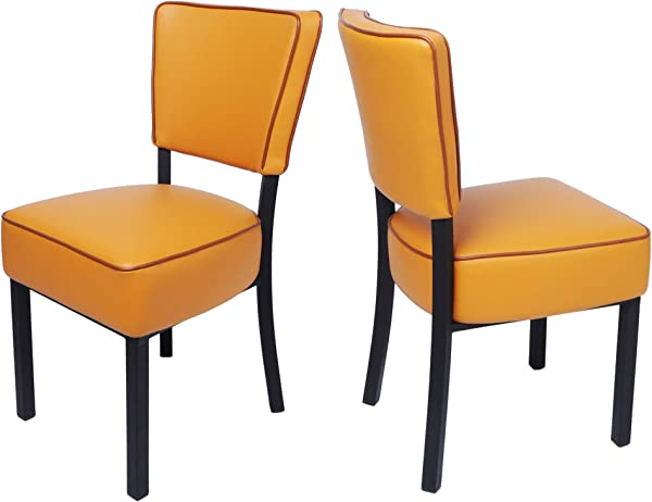 LUCKYERMORE Kitchen Dining Chairs Set Of 2 Modern Classic Leather Side Chair For Dining Room Cafe Bedroom Orange