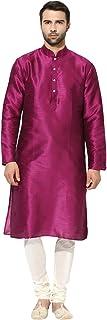 KISAH Men's Indian Dupion Silk Plain Kurta & Churidar Set for Wedding & Festive Season