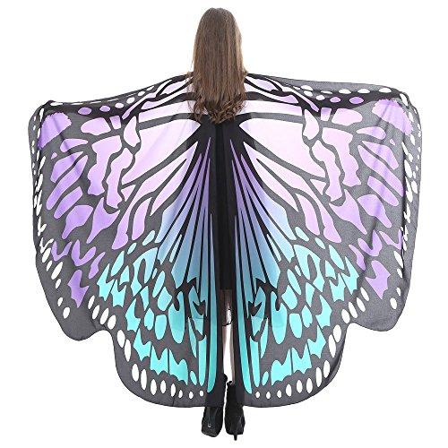 KPILP Damen Schmetterling Kostüm Karneval Faschingkostüme Schal Flügel Tuch Erwachsene Poncho Umhang für Party Halloween Weihnachten Cosplay (Violett2