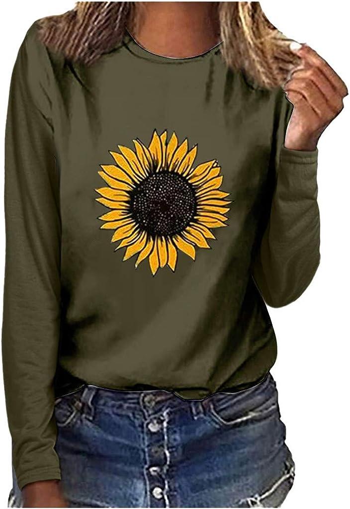 LianMengMVP Blusas de Mujer O-Cuello Camisetas Estampada Girasol Impresi/ón Su/éter de Manga Larga Casual Color Liso Sudadera Tops Talla S-3XL