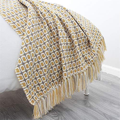 LucaSng Manta Plaid, 127 x 170 cm, color blanco (blanco), marrón y amarillo (amarillo mostaza), Boho, acogedora manta, manta de sofá, manta de picnic