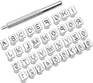 Lettre Alphabet et numéro Stamp Kit de perforation, Outils embossage cuir Carving Craft en cuir pour le bricolage à la mai...