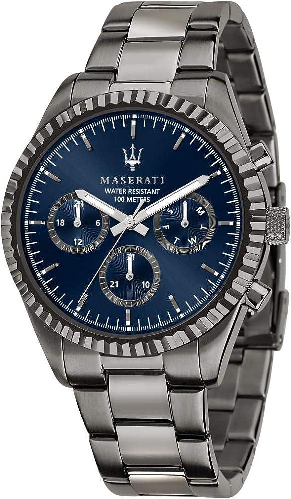 Maserati orologio da uomo, collezione competizione, in acciaio, pvd canna di fucile, 8033288892267