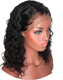 Short Curly Lace Front Human Hair Wigs 13x6 Lace Frontal Peruvian Remy Hair Bob Wig With Baby Hair For Women Preplucked crack of dawn,Natural Color,18inches,130%