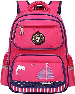 QIXINGHU - Mochila Escolar para Niñas Bolsa de Libro Bolso de Infantil Impermeable para Viaje Vacaciones Estudiantes Primaria de 3-6 Grados - Rosa