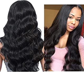 Elesty Loose Wave Synthetic Lace Front Wig Black Color Heat Resistant Fiber Hair Middle Part Pre Plucked Hairline Lace Wigs For Women