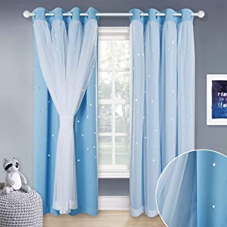 NICETOWN Curtains for 84 inches Long - Double-Layer Thermal Insulated Stylish Dressing White Sheer x Twinkle Star Blackout Drapes for Boy's Nursery (2 Pieces 2-Layer Drapes, Blue, Tie Backs Included)