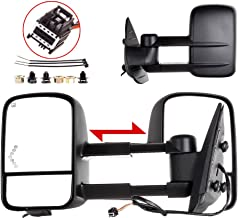 SCITOO Tow Mirrors Compatible with 2007-2014 Chevy GMC 2007 GMC Sierra 1500/2500 HD/3500 HD (Fit 07 New Body Style Only) Towing Mirrors with Power Heated Lens with LED Light with Left Right Side