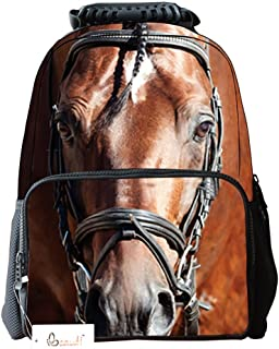 Ibeauti Unisex School Backpack, Large Capacity 3D Vivid Animal Face Print Horse Backpack Back to School Bag Backpack (Brown Horse)