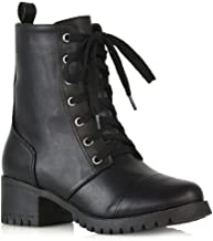 ESSEX GLAM Womens Lace Up Boots Chunky Sole Military Combat Mid Calf Booties
