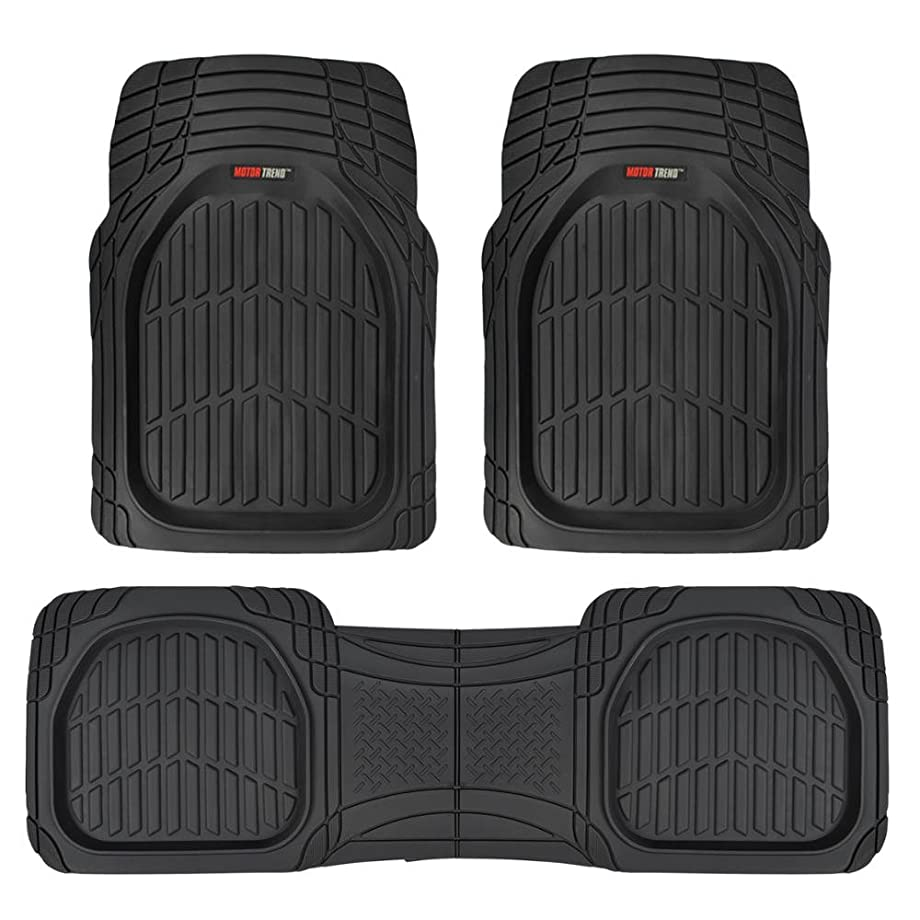 Motor Trend MT-923-BK FlexTough Contour Liners - Deep Dish Heavy Duty Rubber Floor Mats for Car SUV Truck & Van - All Weather Protection (Black)