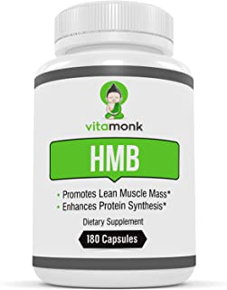 HMB by VitaMonk™ - 180 Capsules Pure HMB Supplement for Increased Strength, Fat Loss and Faster Workout Recovery - Ideal for Recomps - 1000mg Per Serving, 500mg per Capsule