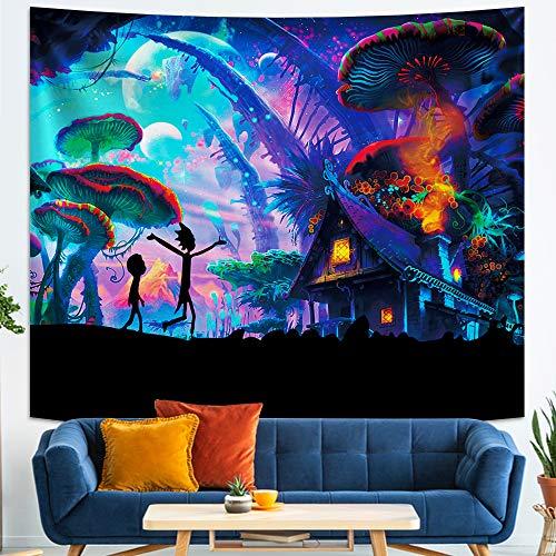 Rick and Morty - Tapiz de pared de anime para decoración de fiesta, dormitorio, regalo de cumpleaños, 50 x 60 pulgadas