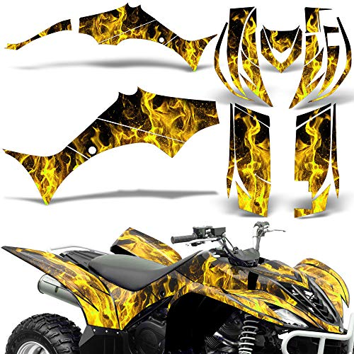 Wholesale Decals ATV Graphics Kit Sticker Decal Compatible with Yamaha Wolverine 2006-2012 - Yellow Flames -  P-YAM-WOL-06-FLAMES-Y