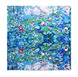 Grace Scarves 100% Silk Scarf With Hand Rolled Edges, Large, Claude Monet, Sleeping Water Lilies