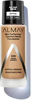 Almay Skin Perfecting Comfort Matte Foundation, Hypoallergenic, Cruelty Free, Fragrance Free, Dermatologist Tested Liquid Makeup, Warm Cashew, 1 Fluid Ounce
