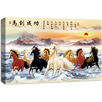 Limited Edition Art Factory Feng Shui Eight Horse Canvas Painting