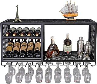 Porte-Verre à vin Suspendu en métal Bois | Porte-Verre bouée Support à Verres à vin bière | Étagère à vin Casier à vin Por...