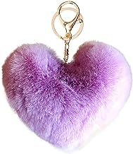 Mooie hart sleutelhangers vrouwen faux rex konijnenbont bal sleutelhangers meisje tas hang auto sleutelhanger hanger