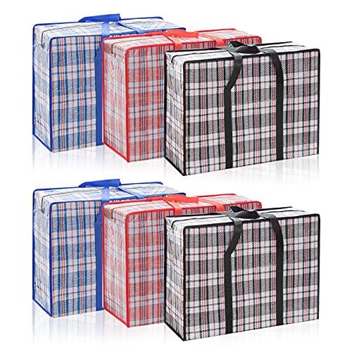 O'woda 6 Pack XX-Large Aufbewahrungstasche Faltbare Aufbewahrungsboxen, Wasserdichte Große Aufbewahrungstasche für Hausumzüge, für Bettwäsche, Kleidung, Decken, 60x50x20 cm