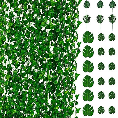 84 Ft 12Pcs Artificial Ivy Leaf Garland Plants Vine and 4 Kinds-24Pcs Faux Tropical Monstera Palm Leaves for Home Garden Baby Shower Wedding Party Décor Hawaiian Luau Party Theme Table Decorations