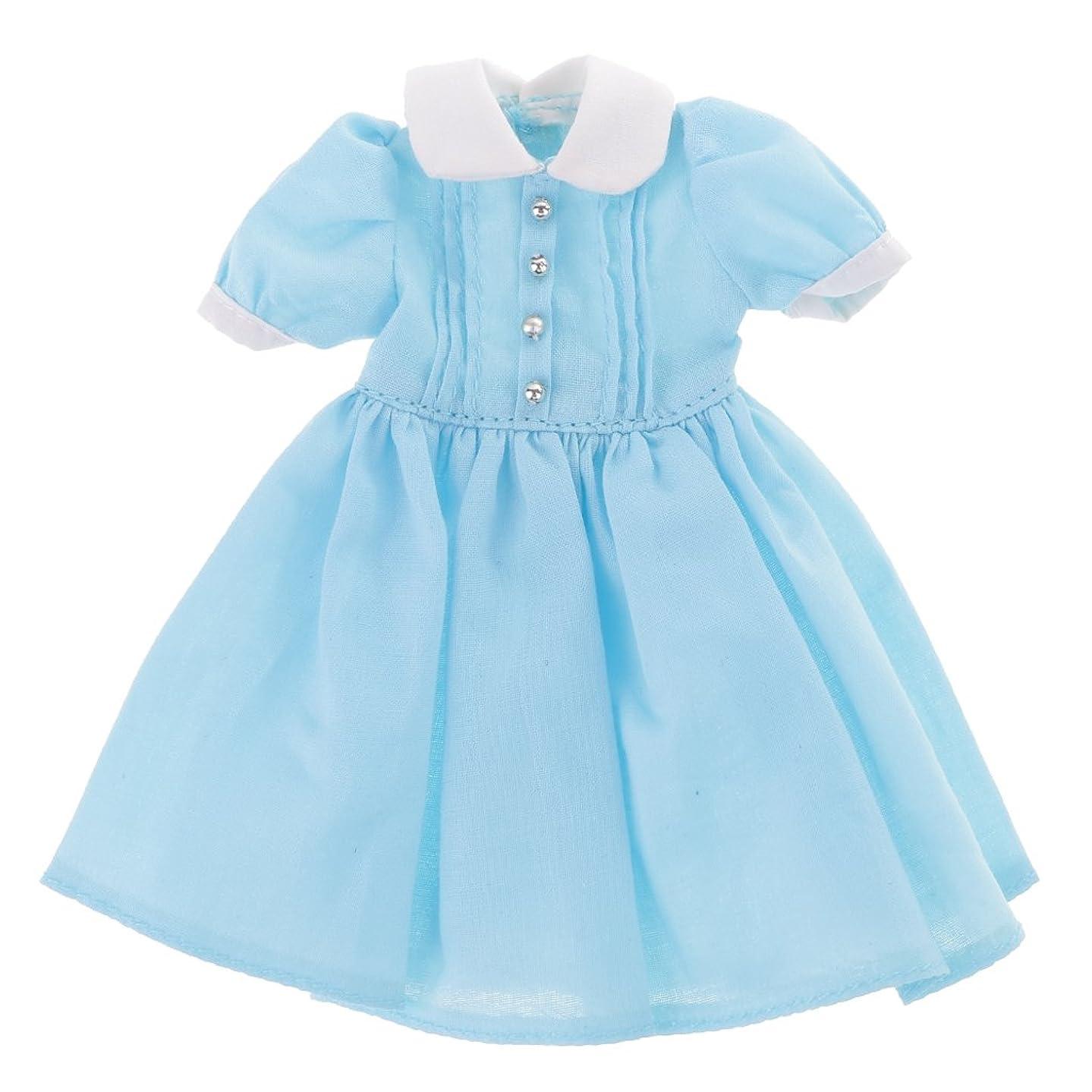 心配する割り当てます全国全3色 人形服 ドレス ワンピース ドレスアップ 12インチのブライスドール用 長さ約12.5cm  - ブルー