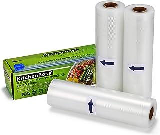 KitchenBoss 真空ロール 真空パック袋 20*500cm 3本 カットボックス付き 真空パック機専用ロール 真空保存容器 専用抗菌 鮮度長持ち 食品保存 低温調理 家庭用 業務用
