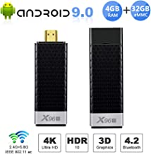 Android TV Stick, X96 S Android TV Box 4GB RAM 32GB ROM, Dual-WiFi 2.4GHz/5GHz Bluetooth Quad-core 3D/4K UHD/H.265/HDR USB 3.0 Smart TV Box