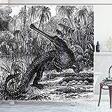 ABAKUHAUS Skizzenhaft Duschvorhang, Altes Krokodil im Wald, mit 12 Ringe Set Wasserdicht Stielvoll Modern Farbfest & Schimmel Resistent, 175x200 cm, Anthrazit grau