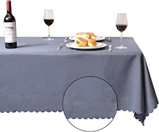 Bon Enjoy 60x84RectangleTablecloth with Delicate lace, Soft & Smooth, 100% PolyesterTablecloth for 5 Foot Table (Gray)