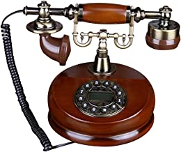 Navigatee Teléfono de Dial Rotatorio, Teléfono de Escritorio de Madera Clásico con Cable, Teléfonos fijos Antiguos con Función de Rellamada Manual de Campana de Metal Clásico, Teléfonos Decorativos.
