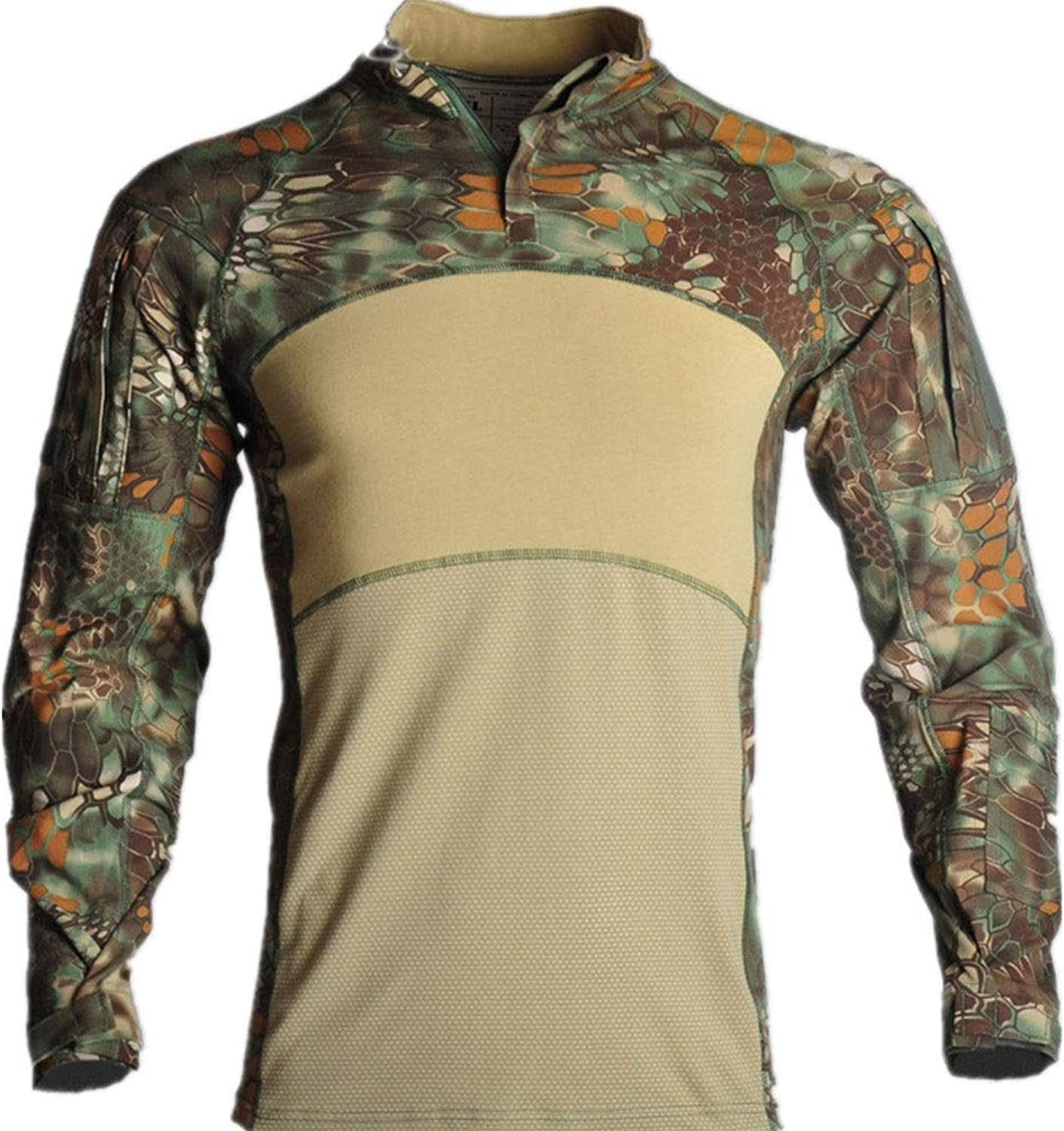 NEW VIEW Military Tactical Shirts Men's Shirt Long Sleeve Slim Fit Shirt with Zipper Combat T-Shirt
