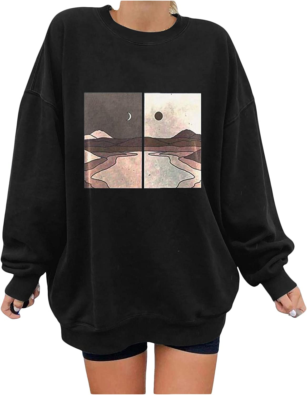 Oversized Sweatshirts for Women Vintage Hooded Sweatshirts Landscape Printed Long Sleeve Casual Pullover Tops