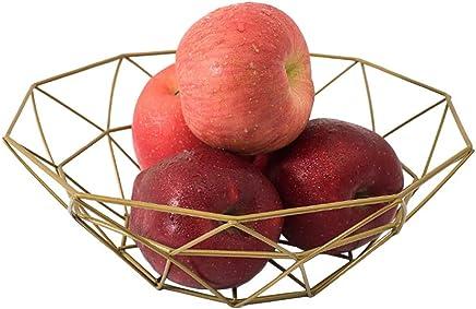 Fashion Creative Large Iron Mesh Woven Fruit Basket Fruit Bowl Office Home Table Art Disply Tray Holder Stand Serving Metal Banana Orange Storage Container Bread Basket SnacksRack (Gold)