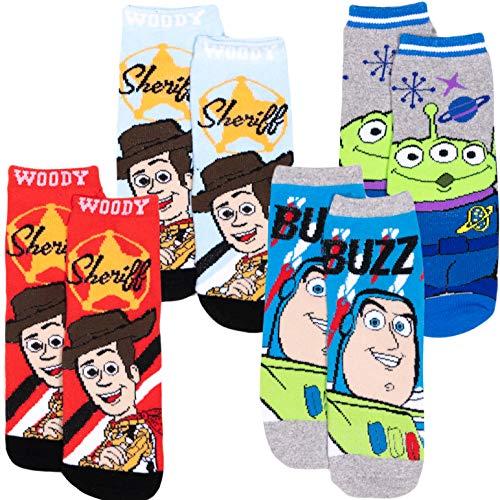 Disney Toy Story 4 - Calzini antiscivolo in spugna con licenza originale, confezione da 2/4 paia di calzini 70% cotone – per bambini  Confezione da 4. 27-30 Taglia EU