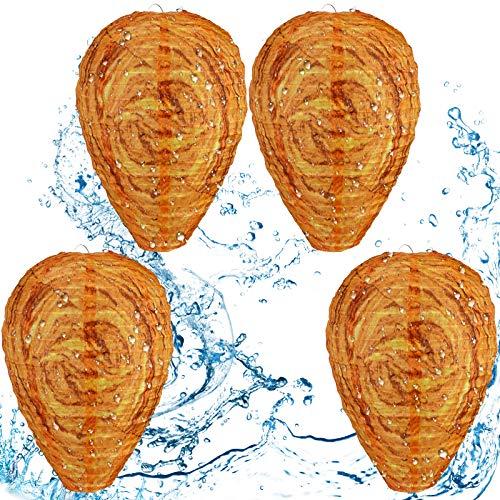 Honoson Señuelos de Nidos de Avispas Impermeable Disuasor de Avispones Colgantes Nido de Avispas de Tela Falsa Señuelo de Abeja No Tóxico para Casa y Jardín (4, Naranja)
